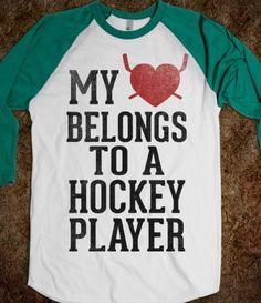 My Heart Belongs To a Hockey Player (Baseball Tee)