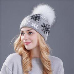 0fd0b484cd3 Real mink pom poms wool rabbit fur knitted hat