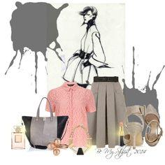 """""""Pastel Grey & Pink"""" by bemystylist on Polyvore"""