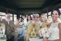 The bride arrives at Tulfarris on her wedding bus along with her entourage! Weddings at Tulfarris Hotel & Golf Resort. Photographed by Couple Photography.