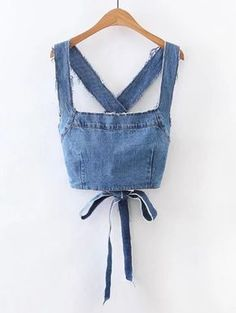 Shop Frayed Detail Criss Cross Back Denim Top online. SheIn offers Frayed Detail Criss Cross Back Denim Top & more to fit your fashionable needs.To find out about the Frayed Detail Criss Cross Back Denim Top at SHEIN, part of our latest Denim Tops re Denim Crop Top, Denim Blouse, Crop Tops, Denim Top Outfit, Diy Clothing, Sewing Clothes, Clothes Crafts, Denim Fashion, Fashion Outfits
