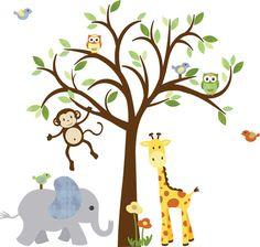 Monkey Wall Decal Jungle Animal Tree Decal by StickItDecalDesigns, $122.00