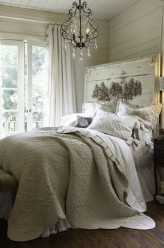 Traditional Guest Bedroom with Standard height, Pottery Barn Paige Crystal Chandelier, Paint, Chandelier, French doors