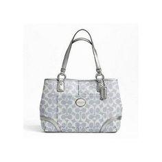 Coach Heritage Signature Shopper Tote Bag Purse 18921 Light Denim Coach  Handbags a5a54e4437461