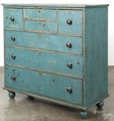 The patina of age. This is a New England or Canadian painted butternut chest of drawers, c., retaining a later blue surface that was up for auction! Primitive Furniture, Primitive Antiques, Country Furniture, Distressed Furniture, Country Primitive, Shabby Chic Furniture, Antique Furniture, Painted Furniture, Primitive Bedroom