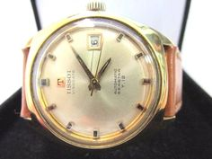 Vintage Tissot SeaStar T12 Date 18k Gold Tone Stainless Men Automatic Watch 35mm #Tissot #LuxuryDressStyles