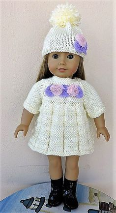 Dollie-Clothes free knitting doll patterns | AMG Cream Dress & Hat*NEW*
