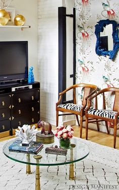 Design Manifest - living rooms - Nina Campbell Wallpaper, Campaign Chest, Anthropologie Mirror, Pottery Barn Tangiers Rug, mirror, painted, ...