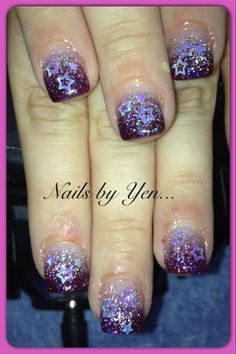 Purple gradient with star inlays #acrylic #nails by yen #glitter #nail design