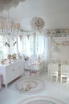 White and pink nursery with shabby chic decor ideas