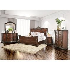 Shop for Furniture of America Luxury Brown Cherry Baroque Style Bedroom Set. Get free delivery at Overstock - Your Online Furniture Shop! Get in rewards with Club O! Furniture Deals, Bedroom Furniture Sets, Bedroom Sets, Home Furniture, Online Furniture, King Furniture, Furniture Movers, Cheap Furniture, Wood Sleigh Bed