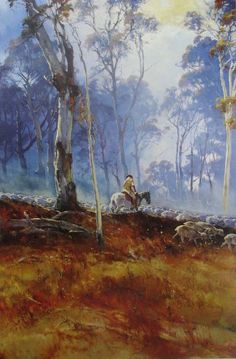 Click on image for enlargement. Born in 1932, d'Arcy Doyle grew up in Ipswich at a time when the Great Depression created poverty and ha... Australian Painting, Australian Artists, Classic Paintings, Beautiful Paintings, Landscape Art, Landscape Paintings, Dream Art, Aboriginal Art, Amazing Art