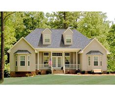 Country house plans create a relaxed yet luxurious feeling that welcomes visitors. Find cottage home plans, low country house plans, and modern farmhouses. Cottage Floor Plans, Ranch House Plans, Small House Plans, The Plan, How To Plan, Future House, Country Style House Plans, Cottage Style, Starter Home
