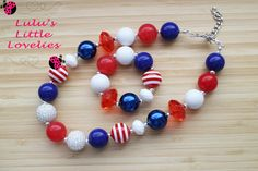 Houston Texans Inspired Red White Blue Necklace Chunky Bubblegum Bead Necklace Bracelet Set Childrens Costume Jewelry - pinned by pin4etsy.com