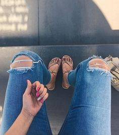 M O O D:    New @glamourgels manicure fresh @asos mom jeans got some cute sandals on my feet and schools out for summer! The Friday feels are here