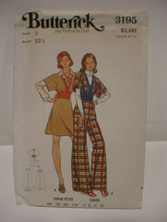 Vintage BUTTERICK 3195 pattern    JUNIOR PETITE & JUNIOR JUMPER, TOP & PANTS    I have examined this pattern and it is complete…