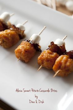 Recipe: Sweet Potato Casserole Bites Skip the sweet potato casserole and use Alexia Sweet Potato Puffs for this easy appetizer! #AlexiaHolidays #Spon
