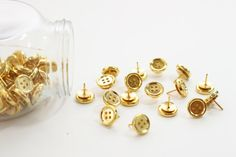Gold Button Thumb Tacks Metallic Push Pins Thumbtacks Bulletin Board Gold Office Supplies Girls School Supplies Chrome Tacks Dorm Room Decor  Spruce up your boring bulletin board with these gold button thumb tacks!  :: Tacks have a variety of small gold buttons hand-glued onto a bass-plated push pin << #sewing #buttons