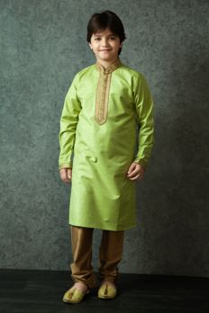 Kurta churidar embellished with resham work from #Benzer #Benzerworld #Kidswear #Kurta #Churidar
