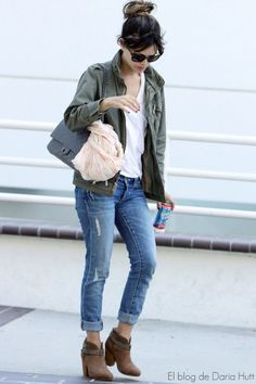 Army jacket jeans and ankle boots!! Great fall outfit.