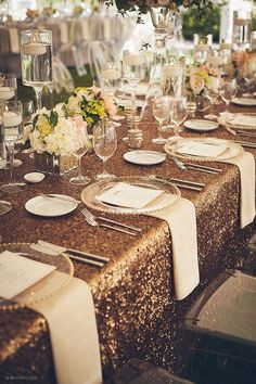 8 feet Gold sequin tablecloth  Copper gold by FabricandCraft