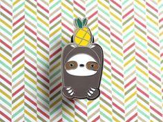 Pineapple Sloth Enamel Pin by WildWhimsyWoolies on Etsy