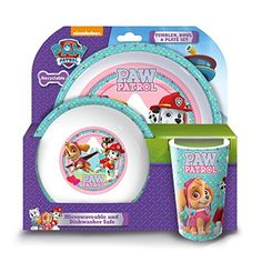 Product Description Make meal times fun for little ones with this tumbler bowl and plate set. A perfect gift for Paw Patrol fans who like to dine with their favourite characters! this three piece set. Paw Patrol Gifts, Parol, Girls Tumbler, Design Your Dream House, Plate Sets, Christmas Gifts, Plates, Airmail, Current Events