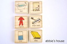 BEDTIME Chore Chart Magnet Set by AbbiesHouse on Etsy