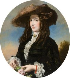 Portrait of a Lady with a Feathered Hat.     Artist : James Sant RA       Date : 1860