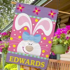 Personalized Easter Bunny House Flag