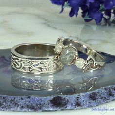 White gold Celtic Wedding set.  Wolfhound ring and Client's green rose cut diamond Double Triskele ring
