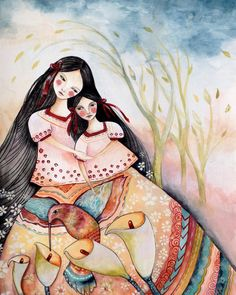 Mayan folktales  mother and daughter by PrintIllustrations on Etsy, $20.00