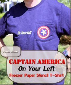 How to make a Captain America On Your Left freezer paper stencil t shirt. Great gift idea for runners,  Captain America fans, or to wear on the Fourth of July! #Avengers #CaptainAmerica