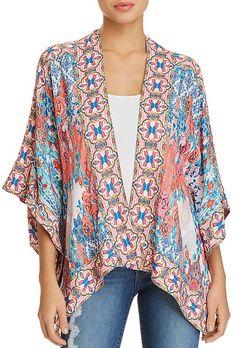 Rhea Mixed-Print Kimono #draped#silhouette#front