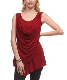 Another great find on #zulily! Burgundy Asymmetrical Drape Tunic by LARA Fashion #zulilyfinds