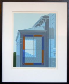 'Window' by Peter Siddell, NZ, screenprint. 1,280NZD. (Nov 2013) Shows pretty stained glass window on historic NZ home.