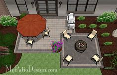 Patio with Fire Pit.... love the colors and the contrasting pavers