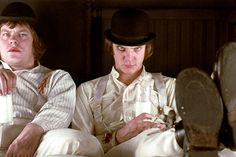 A Clockwork Orange by Stanley Kubrick (1971).  An iconic movie and still one of the best classical musical scores out there.   Unforgettable.