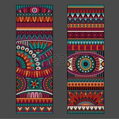 Illustration of Abstract decorative vector ethnic pattern cards set vector art, clipart and stock vectors. Arte Tribal, Tribal Art, Mandala Art, Madhubani Art, Madhubani Painting, Tribal Pattern Art, Motifs Aztèques, Afrique Art, Art Premier