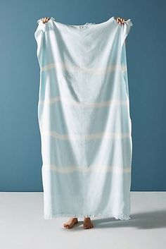 Stripe Dyed Beach Towel - Sky, Size Beach Towl from Anthropologie :: Buy from Anthropologie on The UK High Street Outdoor Stools, Outdoor Dining Chairs, Outdoor Furniture, Travel Must Haves, Garment District, Beach Toys, Textiles, Anthropologie, Towel