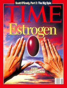 Estrogen | June 26, 1995 Every Woman's Dilemma.  Youthful left hand and aging right hand with estrogen pill framed between them against sunset sky