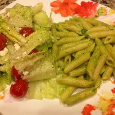 Quick solo dinner. Use leftover basil & make your own pesto. Super simple, pair with salad & voila dinner is served!