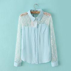 LT237 New Fashion Ladies' elegant lace spliced blue blouses vintage turn down collar long sleeve OL shirt casual slim brand tops