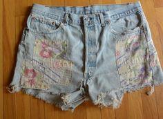 Womans vintage retro patchwork denim jean cut offs Levi's boho hippie patches #Levis #Denim