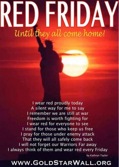 🔴Remember ⚪️Everyone 🔵Deployed You know what to do! Wear something RED to remember those who serve to protect us! Red Friday Shirts, Wear Red On Friday, Military Girlfriend, Military Mom, Military Party, Remember Everyone Deployed, Air Force Mom, Military Quotes, Marine Mom