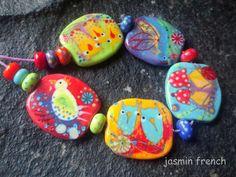 jasmin french  '  farmer's wife '  lampwork beads by jasminfrench
