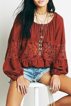 Long Sleeves Crochet Flower Spliced Blouse