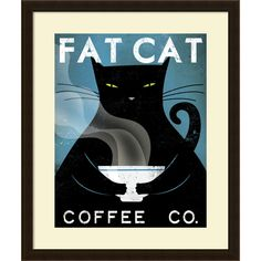 Ryan Fowler 'Cat Coffee (no city)' Framed Art Print 23 x 27-inch - Overstock Shopping - Top Rated Prints