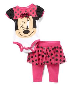 d0ab7271f143 Take a look at this Minnie Mouse Pink   Black Dot Bodysuit   Leggings -  Newborn   Infant today!