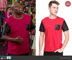 Titus's red t-shirt with black leather pocket and sleeves on Unbreakable Kimmy Schmidt.  Outfit Details: http://wornontv.net/46488/ #UnbreakableKimmySchmidt